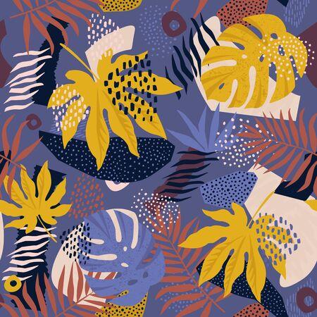 Collage motif floral hawaïen contemporain en vecteur. Conception de surface transparente.