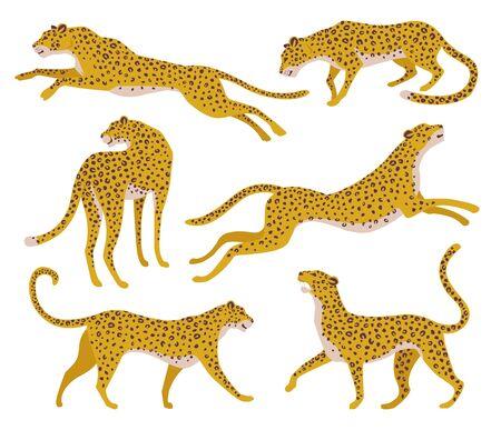 Ensemble de silhouettes abstraites de léopards. Conception de tirage à la main de vecteur. Vecteurs