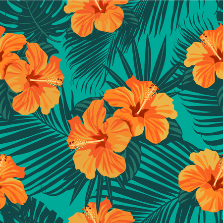 Tropical flowers and palm leaves on background. Seamless Vector pattern. Standard-Bild - 124206189