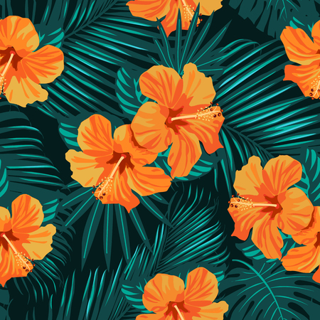 Tropical flowers and palm leaves on background. Seamless Vector pattern. Standard-Bild - 124206190