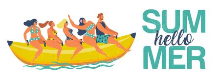 Summer water fun. Man and women ride on banana boat. Hello summer. Vector illustration of a flat design.