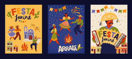 Festa Junina. Vector templates for Latin American holiday, the June party of Brazil. Design for card, poster, banner, flyer, invitation and over use. Standard-Bild - 124056937