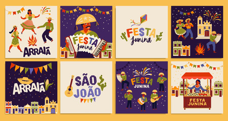 Festa Junina. Vector templates for Latin American holiday, the June party of Brazil. Design for card, poster, banner, flyer, invitation and over use. Standard-Bild - 124056939