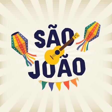 Brazilian Traditional Celebration Festa Junina. Portuguese Brazilian Text saying Saint John. Festa de Sao Joao. Festive Typographic Vector Art.