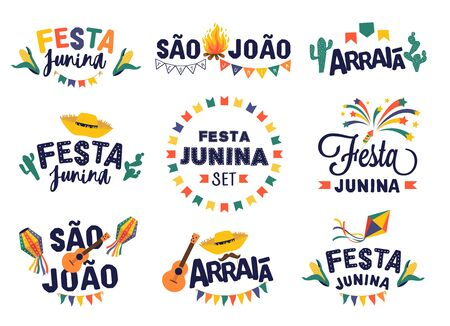 Festa junina party design set. Vector background with fireworks and garland.