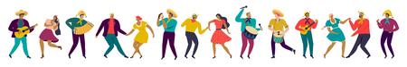 Festa Junina Brasil fiesta gente en ropas tradicionales músicos y bailarines Banner horizontal. Caracteres. Ilustración de vector. Ilustración de vector