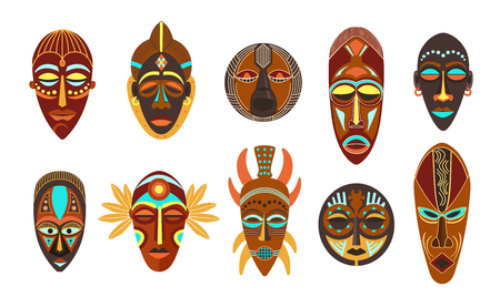 Flat set of colorful african ethnic tribal ritual masks of different shape isolated on white background vector illustration. Standard-Bild - 123012304