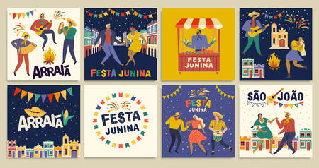Brazilian Traditional Celebration Festa Junina. Portuguese Brazilian Text saying Friend Village. Festa de Sao Joao. Arraia Portuguese Brazilian Text saying Fair. Festive Typographic Vector Art.