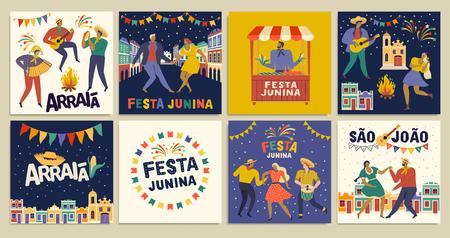 Celebrazione tradizionale brasiliana Festa Junina. Testo portoghese brasiliano che dice Friend Village. Festa di São João. Arraia portoghese brasiliano Testo dicendo Fiera. Arte vettoriale tipografica festiva.