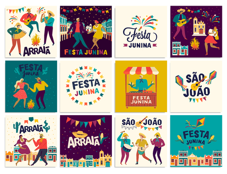 Brazilian Traditional Celebration Festa Junina. Portuguese Brazilian Text saying Friend s Village. Festa de Sao Joao. Arraia Portuguese Brazilian Text saying Fair. Festive Typographic Vector Art.