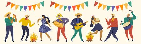 Festa Junina. Vector templates for Latin American holiday. Иллюстрация