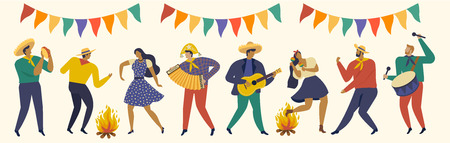Festa Junina. Vector templates for Latin American holiday. Banque d'images - 133672570