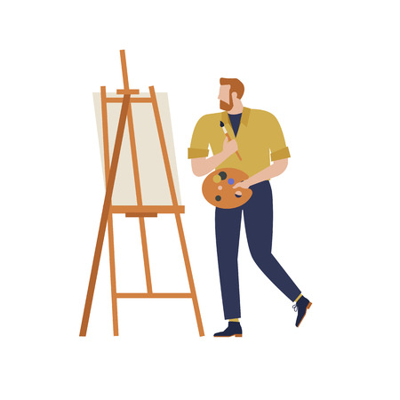 Cartoon artist vector isolated character in creative artistic hobbies. People hobby artistic drawing and amateur painter illustration.