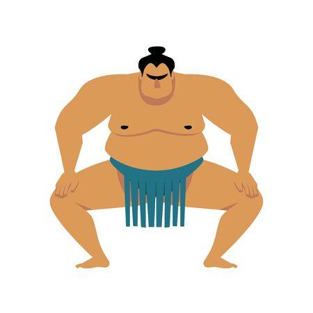 Lottatore di sumo. Illustrazione del fumetto di vettore isolata su bianco. Carino grande uomo asiatico. Mani alzate, una gamba, vista da dietro.