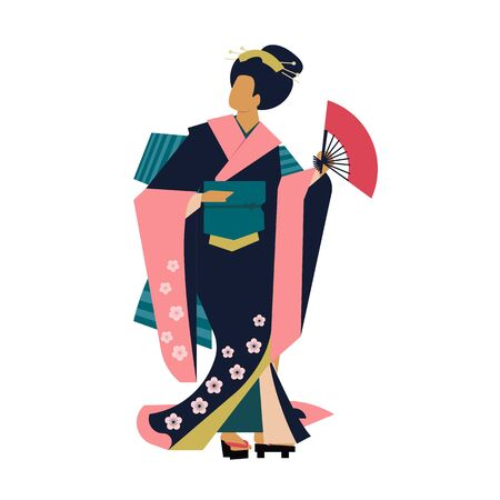 Woman wearing traditional Japanese clothes. Geisha costume kimono. Flower pattern. Hand drawn vector illustration.