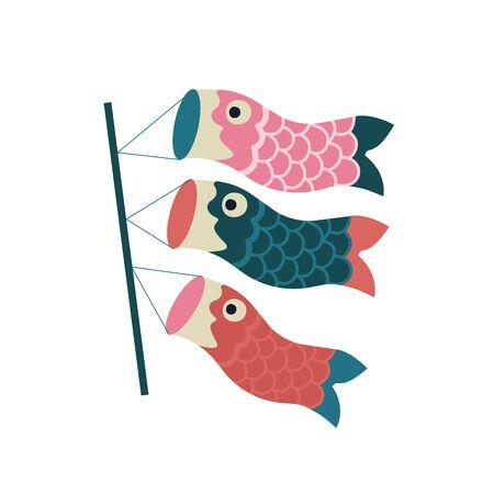 Koinobori carp streamer. Fish Kites. Traditional japanese Celebrating Childrens Day. Vector illustration.