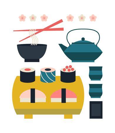 Sushi, yakisoba, takoyaki, onigiri, green tea, sake, dorayaki, mochi, rice ball, miso soup, tofu, oden, dango, taiyaki, tempura, ramen, rice bowl, gyoza. Illustration