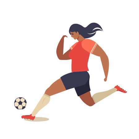 Womens European football, soccer player flat vector illustration