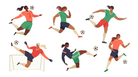 Womens Football soccer players cheerleaders fans set of isolated human figures with merch marks of favourite team vector illustration