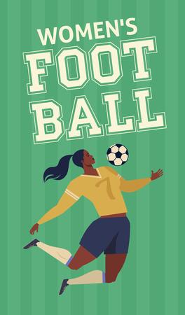Womens European football soccer player flat vector illustration