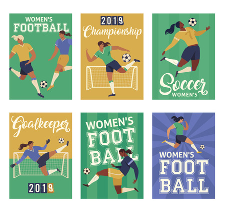 Womens Football soccer players, set of posters.