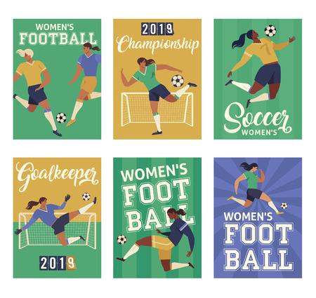 Womens Football soccer players, set of posters. Vektorové ilustrace