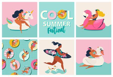 Aufblasbare Schwimmbecken mit Flamingo, Einhorn und Schwan. Karikatursatz der Sommerzeit mit Mädchen, Schwimmbecken, Hund, Surfbrett einzeln auf Wellenhintergrund.