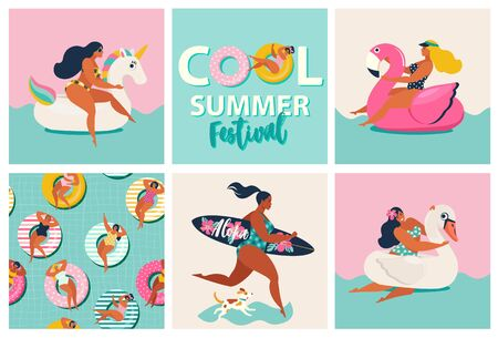 Flamingo, unicorn and swan inflatable swimming pool floats. Cartoon set of summer time with girls, pool floats, dog, surfboard isolated on waves background. Stock Illustratie