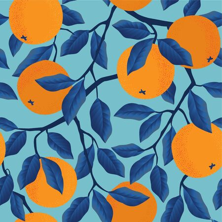 Tropical seamless pattern with oranges. Fruit repeated background. Vector bright print for fabric wallpaper.
