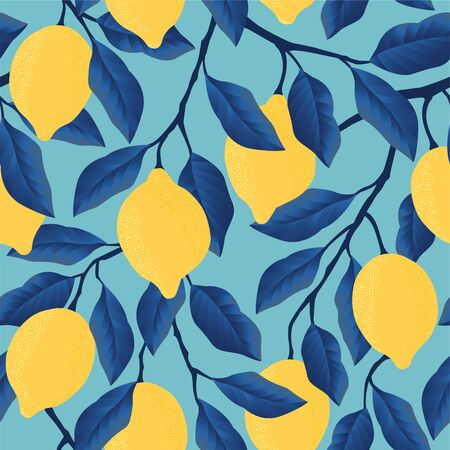 Tropical seamless pattern with yellow lemons Fruit repeated background. Vector bright print for fabric or wallpaper. Ilustrace