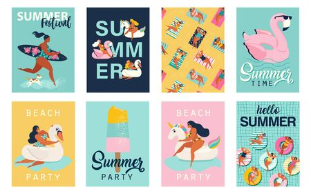 Summer party. Hello summer posters in vector. Cute Retro posters set. Illustration