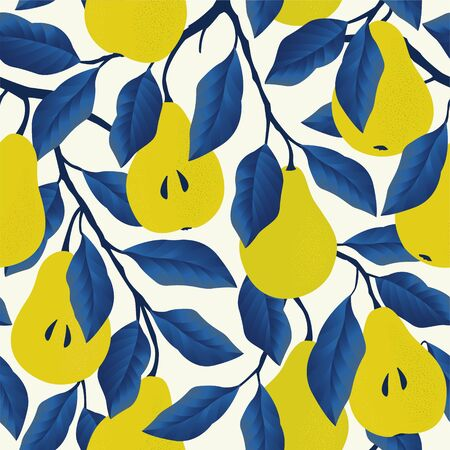 Seamless pattern with yellow pear. Fruit background. Vector print for fabric and wallpaper Ilustrace