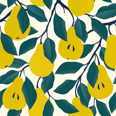 Seamless pattern with yellow pear Fruit background. Vector print for fabric and wallpaper.