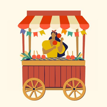 Tent street food cart Festa Junina Brazilian Apple Candy June Party Festival Vector Illustration.