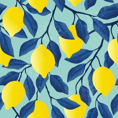 Tropical seamless pattern with yellow lemons. Fruit repeated background. Vector bright print for fabric or wallpaper