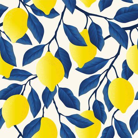 Tropisch naadloos patroon met felgele citroenen.