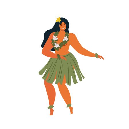 Hawaiian hula dancers young pretty woman Vector illustration.