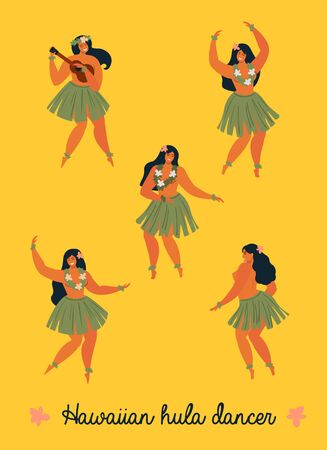 Hawaiian hula dancers young pretty woman. Vector illustration.