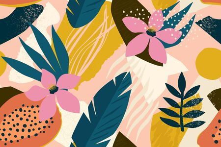 Collage contemporary floral seamless pattern. Modern exotic jungle fruits and plants illustration vector. Vettoriali