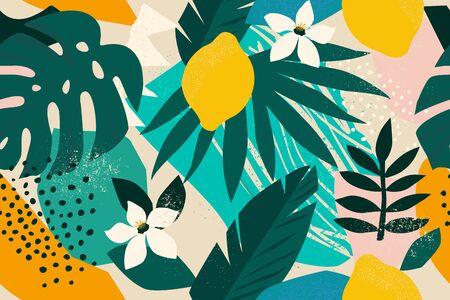 Collage zeitgenössisches nahtloses Blumenmuster. Moderner exotischer Dschungelfrüchte- und Pflanzenillustrationsvektor Vektorgrafik