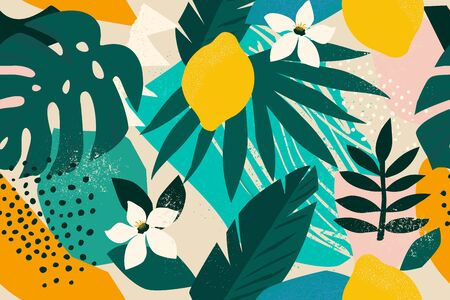 Collage contemporary floral seamless pattern. Modern exotic jungle fruits and plants illustration vector