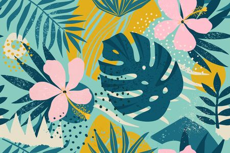 Collage contemporary floral seamless pattern. Modern exotic jungle fruits and plants illustration vector.  イラスト・ベクター素材