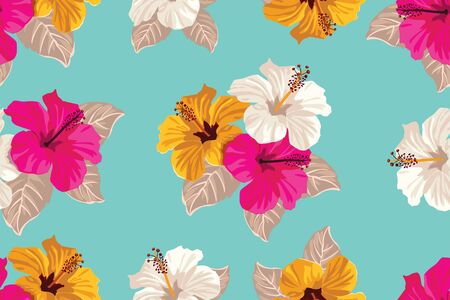 Tropical flowers and palm leaves on background Seamless. Vector pattern. Ilustracja