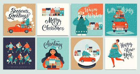 Christmas and New Years Template Set for Greeting Scrapbooking, Congratulations, Invitations, Poster Stickers, Postcards. Christmas Posters set. Vector illustration.