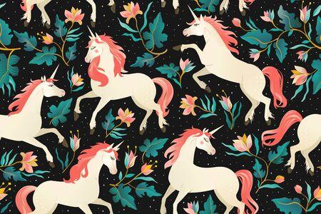 Einhörner auf dunklem Hintergrund mit Märchenwald. Nahtloses Muster.