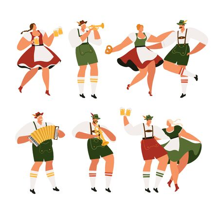 Oktoberfest. Funny cartoon characters in Bavarian folk costumes of Bavaria celebrate and have fun Oktoberfest beer festival. Party Concept Flat Vector Illustration.