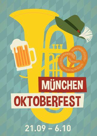 Oktoberfest flyer, banner. Beer festival poster concept design.