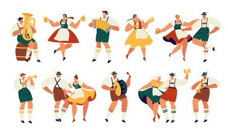 Oktoberfest. Funny cartoon characters in Bavarian folk costumes of Bavaria celebrate and have fun at Oktoberfest beer festival Party Concept Flat Vector Illustration.