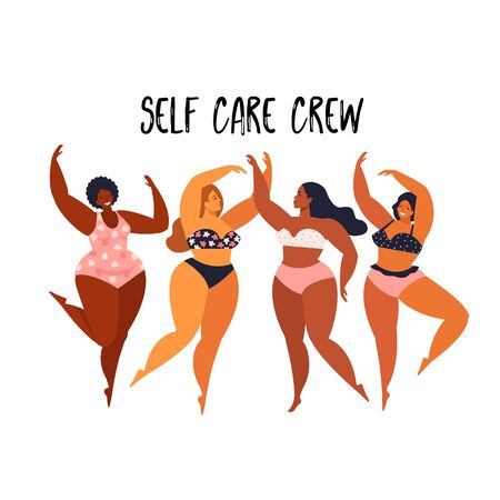 Multiracial women of different height, figure type and size dressed in swimsuits standing in row. Female cartoon characters. Body positive movement beauty diversity. Vector illustration. 版權商用圖片 - 133672642