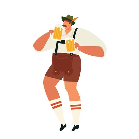 Illustration of Oktoberfest man celebrating Party Concept Flat Vector Illustration.